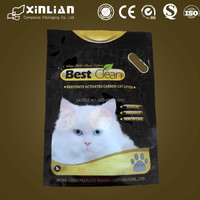 popular stand up cat litter bag with handle/PA/PE cat litter bag with ziplock