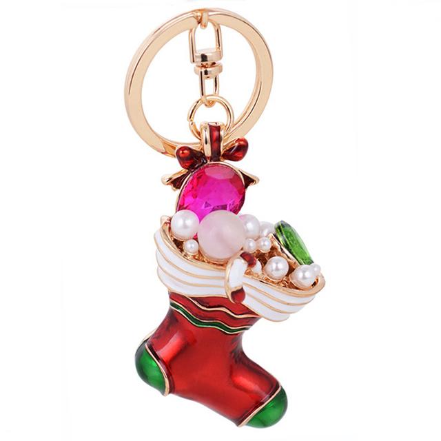Crystal beaded Christmas socks shape keychain,3D ruby pearl rhinestone Xmas sports sneaker shoe boots key chain ring pendants
