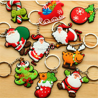 Christmas key chains in stock PVC Keychain Key Ring for Holiday Promotion Gifts (Can be Custom)