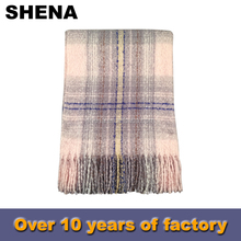 modern low price knitting plaid winter cashmere scarf shawl manufacturer