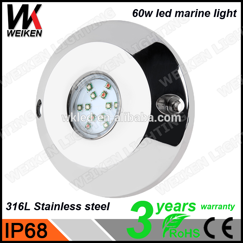 WEIKEN 316L stainless steel Excellent Quality 12v 60w Waterproof IP68 LED Underwater Marine Boat Drain Plug Light Brightest