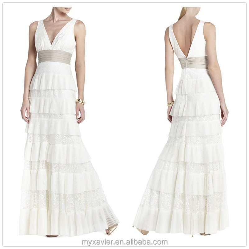 2015 New white sleeveless plunging neck layered lace wedding dress patterns with tiered pleated chiffon at skirt