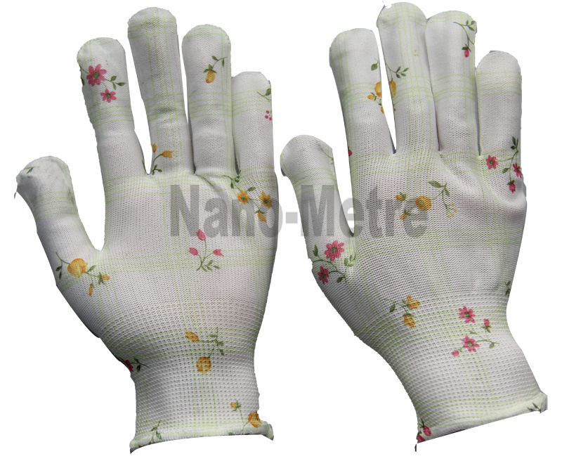 NMSAFETY polyester liner printed garden gloves easy knitting gloves