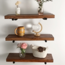 DIY Set of 3 Wall mounted floating <strong>shelves</strong> with pipe brackets/ Best organizer for Home&amp;kitchen/ Customized order acceptable