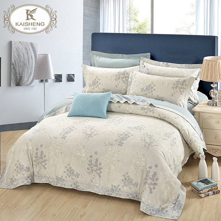 Skin Friendly Luxury Home Textile 4pcs Pima Cotton Printed Bed Sheet Set