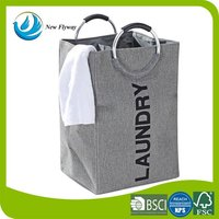 Stronger large capaciry bag hotel laundry hamper gray polyester laundry bag with round handles