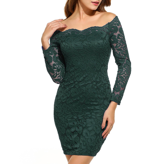 Factory Custom Women's Off Shoulder Bodycon Cocktail Party Lace Evening Dress