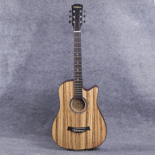 38 Inch S-style Zebrawood Top OEM Beginner Guitar Acoustic Guitar for Student Basswood Guitar