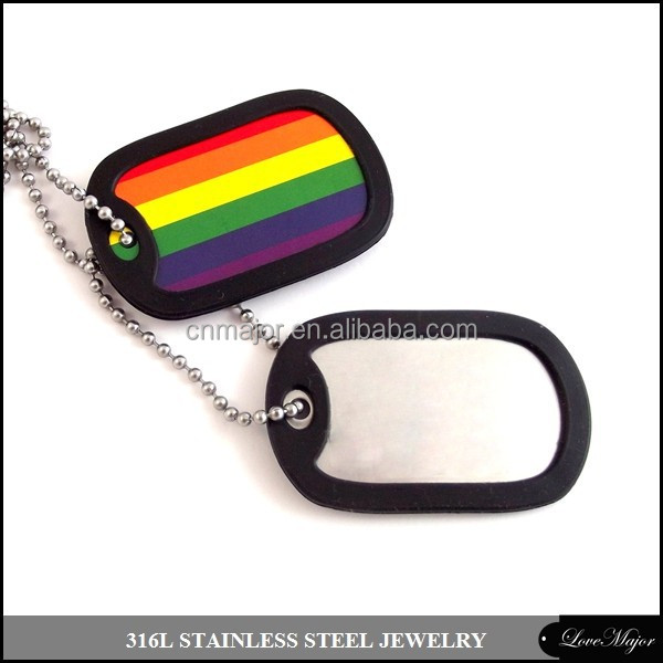 gay pride rainbow stainless steel pendant in dog tag design with rubber frame and ball chain