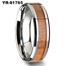 Tungsten Carbide Wood Inlay Wedding Band Bridal Ring Comfort Fit MEN Gay Men Ring