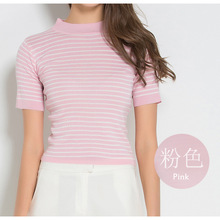 ZH02255B Fashion Slim Tight Short Sleeve Cold Waist Girls Sexy Crop Tops