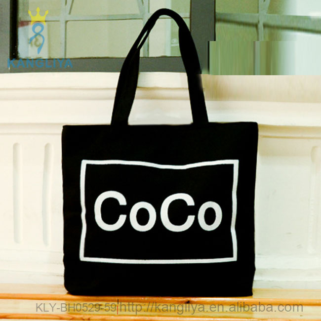 Coco printed letter pattern canvas bag, tote soft folding shopping bags, factory made style female canvas handbag