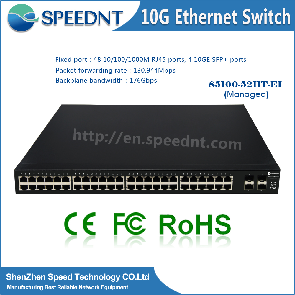 "Metal case 10/100/1000Mbps Ethernet Switch 48 port switch 19"" gigabit internet switcher"