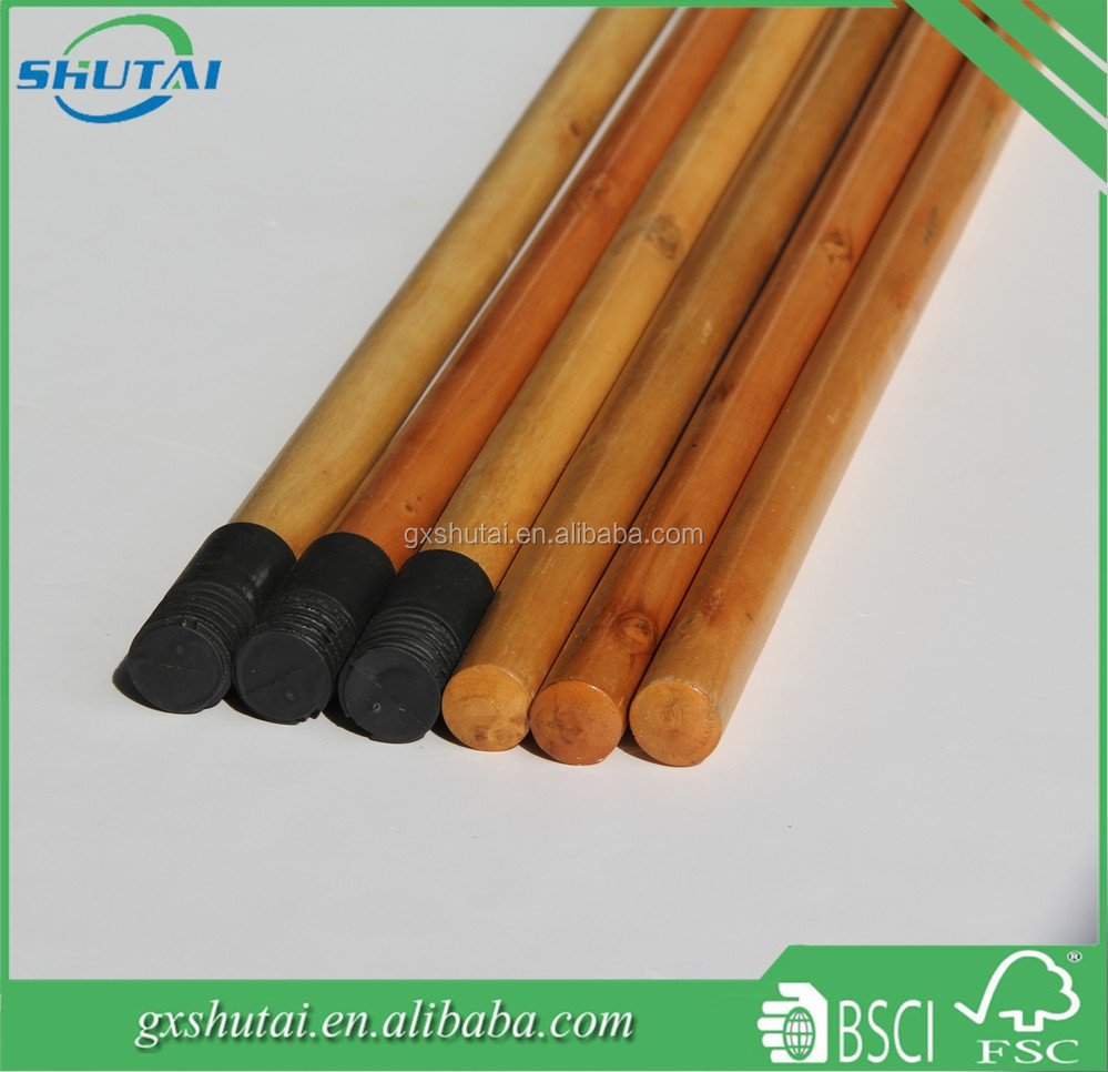 hot sale wood broom stick 22mm threaded rod with black Greece screw