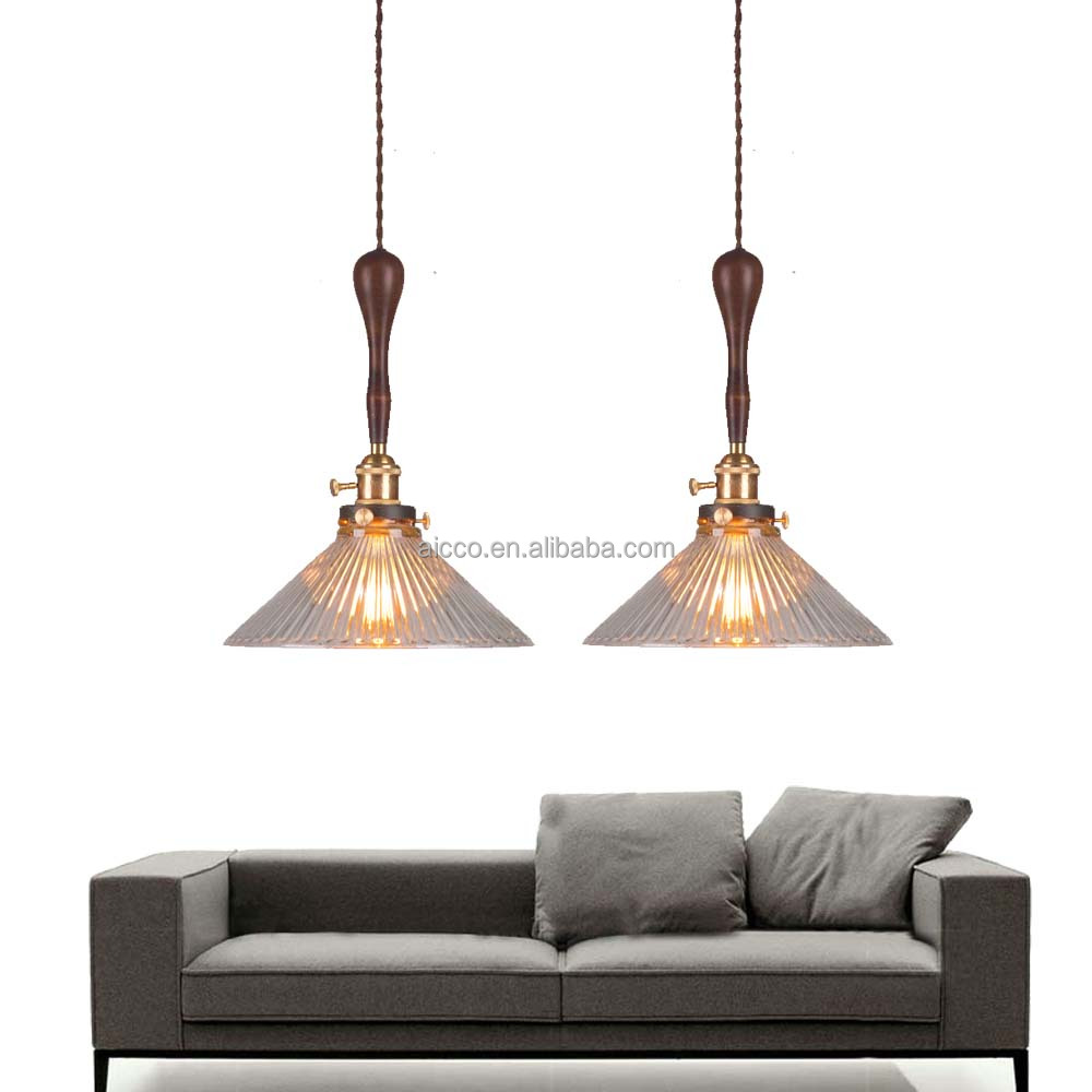 Moden Decorative Hanging Vintage Wooden Pendant Light With