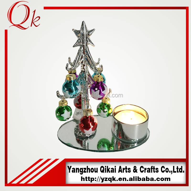 new design glass christmas tree candle holder with glass ball