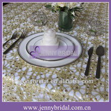 TL001H Gold ,Violet and Silver sequin fabric sequins table cloth