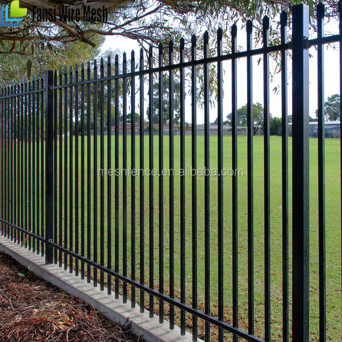 Living area spear top tubular steel fence and slide gate(manufacturer)