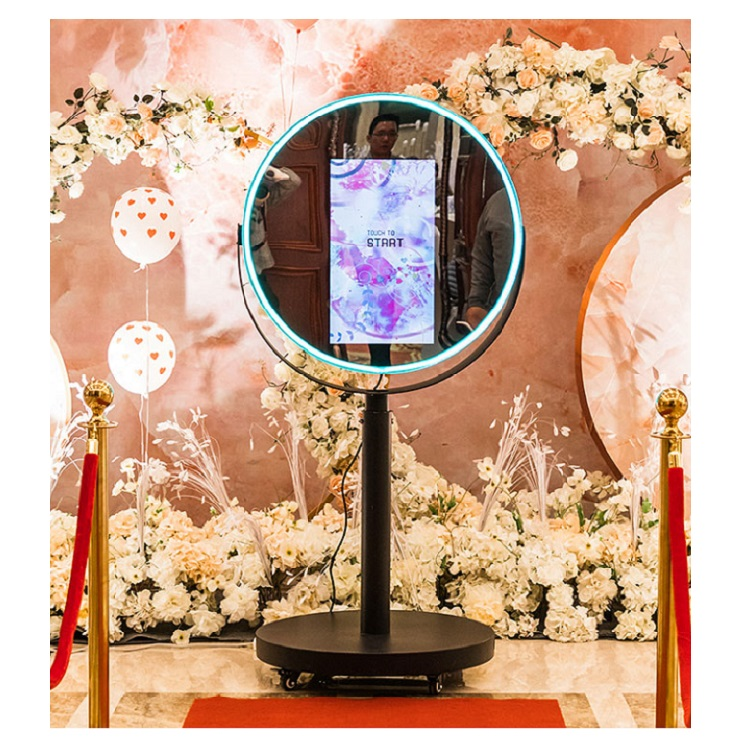 Automatic round ring light photobooth machine beauty touch screen magic oval photo mirror booth for <strong>sale</strong>