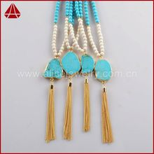 Summer Sexy Ladies Beach Fashion Jewelry Layer Necklaces Linked Turquoise Beads With Long Tassel bead Chain Lariat Necklace