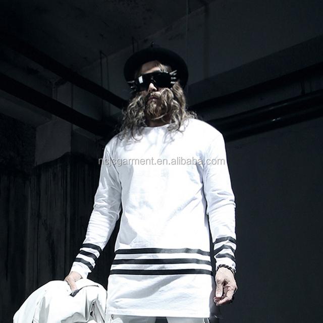 Bulk slae 2015 fashion European style plain white long sleeve striped t shirt mens hip hop long t shirt oversized