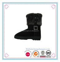 Black winter warm soft faux fur outdoors TPR snow boot for women