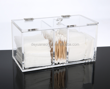 Transparent Acrylic Makeup Cotton Multi Functional Cosmetic Storage Box