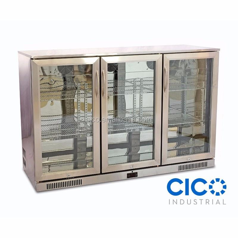 Cico 3door Stainless Steel Glass Door Bar Fridgebeer Cooler