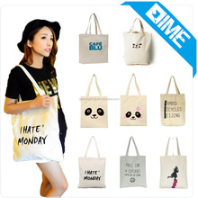 Custom Colorful Printed Promotional Shopper Bags Fashion Cotton Tote Bag For Girls