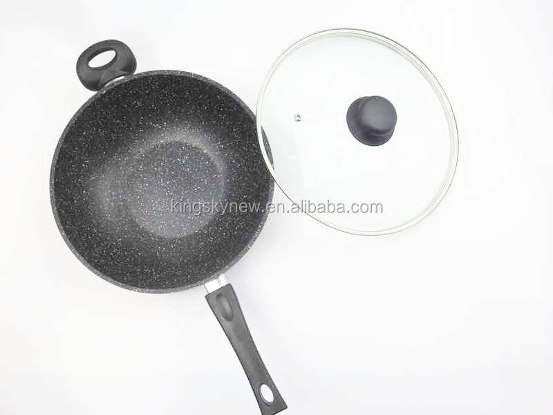 Cast-Aluminum Frying Pan Sets 18/20/24/28/30cm Marble Stone Coating with lid