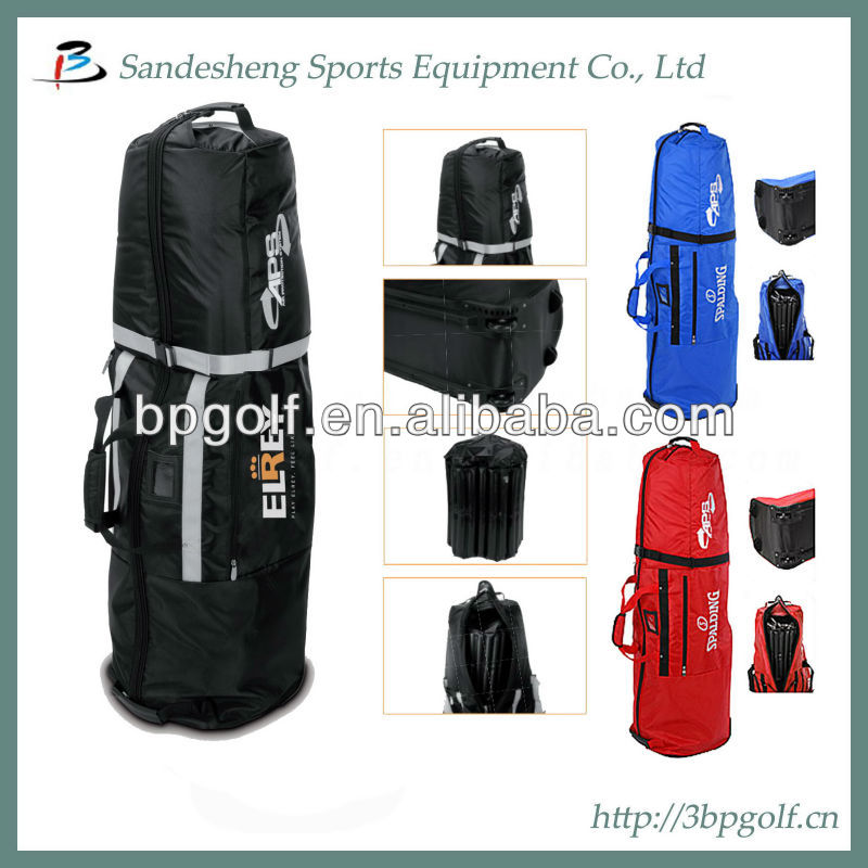 2016 new design foldable golf travel bag on wheels