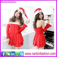 New style red three pcs off shoulder carnival costume