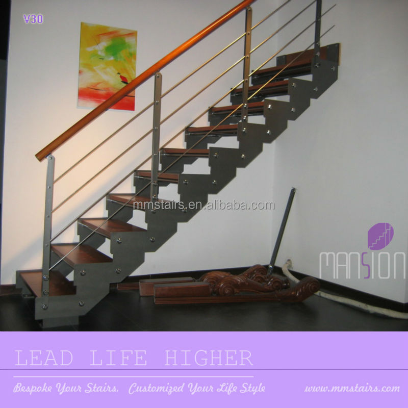 Indoor Wooden Prefabricated Stairs Steel Stringer Buy