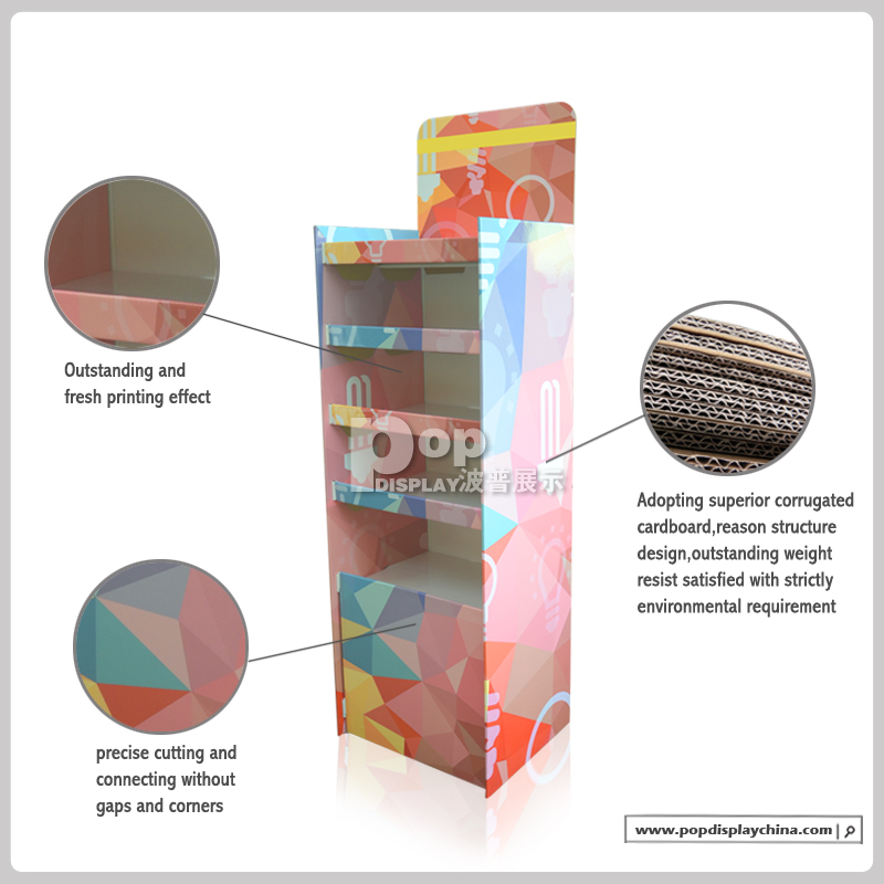2015 new fashional cardboard floor display stand for tiles product