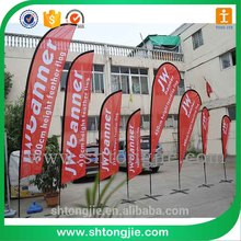 2016 High Quality Flying Beach Flag Banner,Teardrop Flag,Read White Blue Black Flag