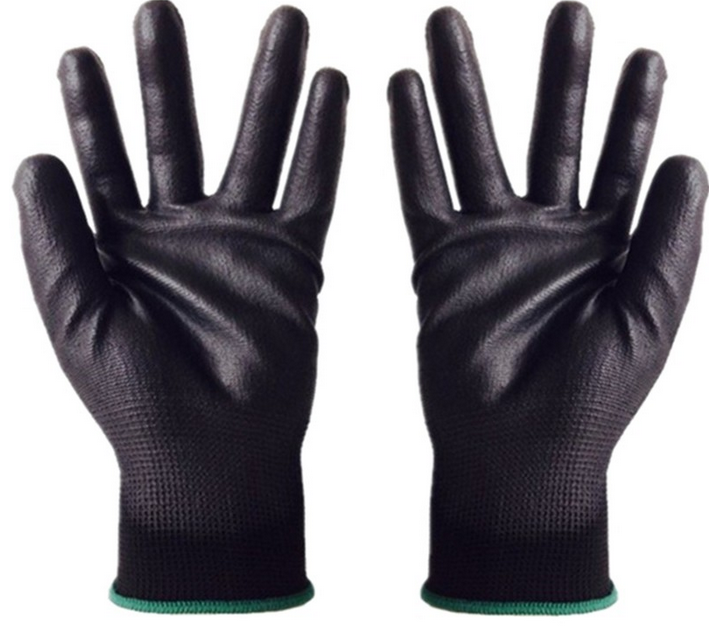 2016 black nylon coated black PU thin working safety household used working gloves in china