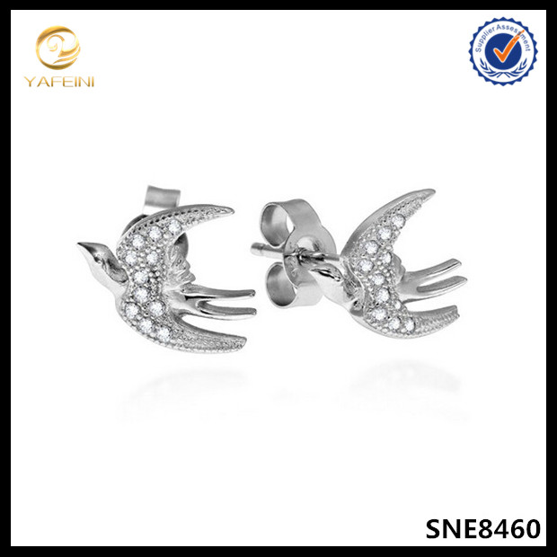 Micro pave diamond bird sparrow stud earring silver jewelry