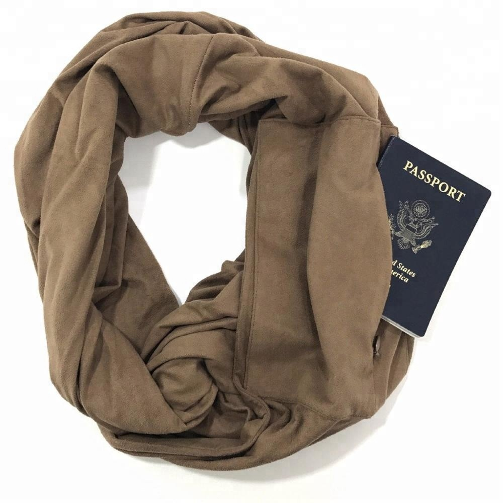 Women Lightweight infinity travel <strong>Scarf</strong> with Hidden Zipper Pocket