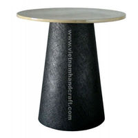 Eco-friendly handpainted vietnamese lacquered bamboo table in black & white silver leaf