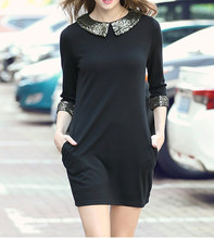 B30675A Autumn/winter europe simple style three quarter sleeve sleeve sequined loose elegant dress