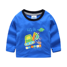 kid's cartoon printed t-shirt kid's round neck long sleeve 100% cotton t-shirt