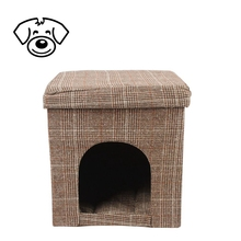 High Quality Breathable Fabric foldable house shape dog bed