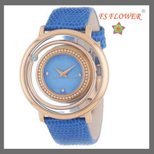 Rotating Case Fancy Fashion Vogue Ladies Quartz Watch Nice Design Copper Watches For Women