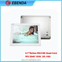 Retina/IPS:RK3188 9.7 inch quad core tablet 2G/16G 8000 mah Jelly bean 4.4 pen pc tablet