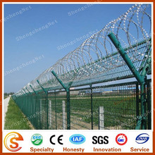 Y fence post support the concertina razor wire on top army and prison fence