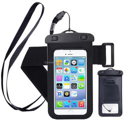 2018 Hot Sales 100% Seal PVC phone waterproof bag/plastic armband bag with audio jack perfect for 4.5-6 inch smartphone