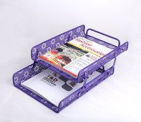 Customized Made Embossing Folding Purple Organizer Metal Office And School Desk Document File Tray