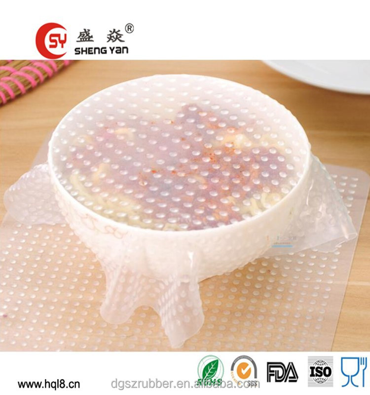 Custom new style durable silicone plastic wrap silicone food wrap