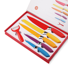 Non-stick Pure Color Royalty Line Swiss Line 6pcs Kitchen Knife set