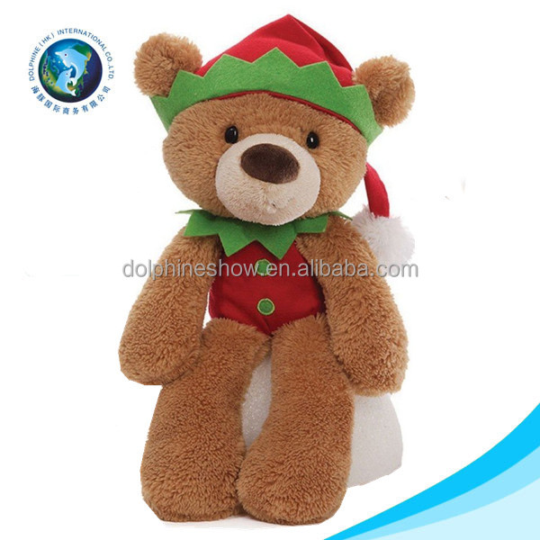 Personalized christmas gift ideas 2016 plush toy for kids wholesale cute stuffed soft plush toy santa teddy bear christmas elf